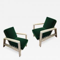 Jean Roy re Jean Royere documented pair of cerused oak lounge chairs - 1462839