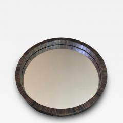 Jean Roy re Jean Royere documented rare marqueterie de paille small round mirror - 1033570
