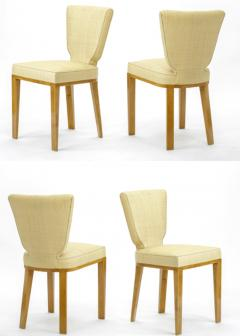 Jean Roy re Jean Royere documented vintage 4 trefle chairs covered in raphia cloth - 948821