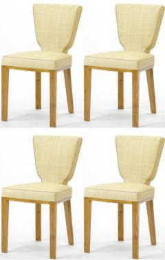 Jean Roy re Jean Royere documented vintage 4 trefle chairs covered in raphia cloth - 948822
