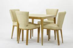 Jean Roy re Jean Royere documented vintage 4 trefle chairs covered in raphia cloth - 948826