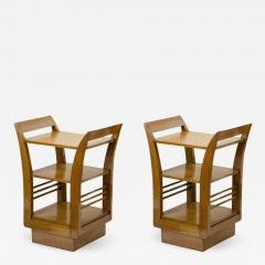 Jean Roy re Jean Royere for Gouffe pair of oak 2 tier coffee table or side table - 878963