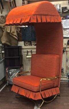 Jean Roy re Jean Royere genuine Irans shah model sunchair in gold leaf orange cloth - 1245277