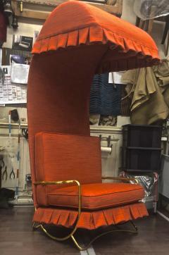 Jean Roy re Jean Royere genuine Irans shah model sunchair in gold leaf orange cloth - 1245291
