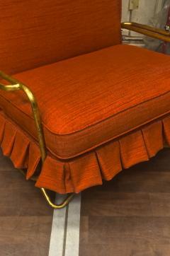 Jean Roy re Jean Royere genuine Irans shah model sunchair in gold leaf orange cloth - 1245292
