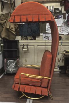 Jean Roy re Jean Royere genuine Irans shah model sunchair in gold leaf orange cloth - 1245295