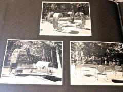 Jean Roy re Jean Royere genuine Irans shah model sunchair in gold leaf orange cloth - 1245322
