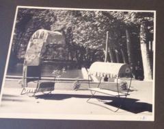 Jean Roy re Jean Royere genuine Irans shah model sunchair in gold leaf orange cloth - 1245324