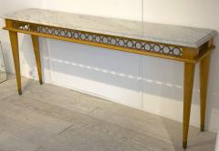 Jean Roy re Jean Royere genuine longest ash tree chicest console with gold bronze accent - 1584884