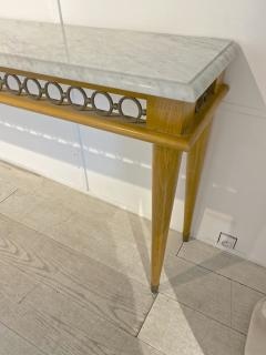 Jean Roy re Jean Royere genuine longest ash tree chicest console with gold bronze accent - 1584887