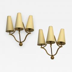 Jean Roy re Jean Royere gold leaf wrought iron pair of sconces model Jacques  - 471663