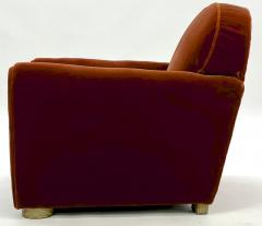 Jean Roy re Jean Royere pair of comfy vintage club chair in original red mohair cloth - 1621077