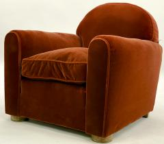 Jean Roy re Jean Royere pair of comfy vintage club chair in original red mohair cloth - 1621134