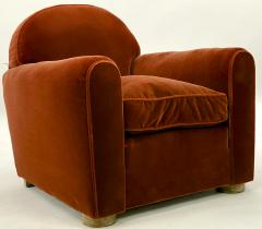 Jean Roy re Jean Royere pair of comfy vintage club chair in original red mohair cloth - 1621135