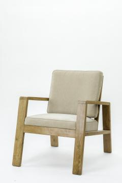 Jean Roy re Jean Royere pair of documented oak slender lounge chairs - 834165