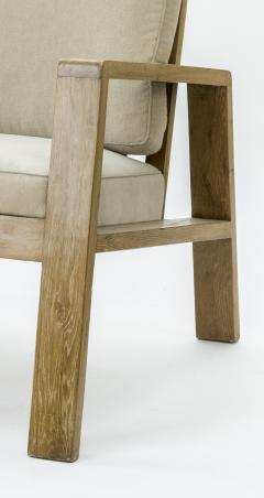 Jean Roy re Jean Royere pair of documented oak slender lounge chairs - 835226