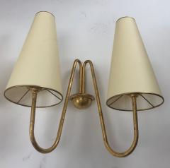 Jean Roy re Jean Royere pair of model jet deau 2 lights gold leaf iron sconces - 1133549