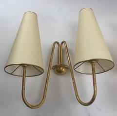 Jean Roy re Jean Royere pair of model jet deau 2 lights gold leaf iron sconces - 1133550