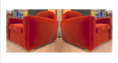 Jean Roy re Jean Royere rarest comfy mohair club chair with cerused oak cylinder legs - 1426886