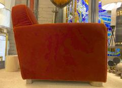 Jean Roy re Jean Royere rarest comfy mohair club chair with cerused oak cylinder legs - 1426888
