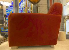 Jean Roy re Jean Royere rarest comfy mohair club chair with cerused oak cylinder legs - 1426890