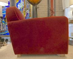 Jean Roy re Jean Royere rarest comfy mohair club chair with cerused oak cylinder legs - 1426892