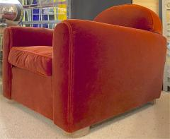 Jean Roy re Jean Royere rarest comfy mohair club chair with cerused oak cylinder legs - 1426893
