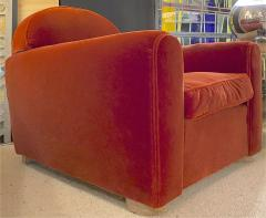 Jean Roy re Jean Royere rarest comfy mohair club chair with cerused oak cylinder legs - 1426894