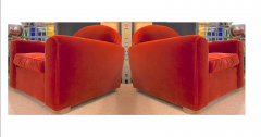 Jean Roy re Jean Royere rarest comfy mohair club chair with cerused oak cylinder legs - 1426896