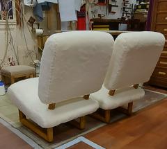 Jean Roy re Jean Royere rarest pair of Visiteur du soir wool faux fur slipper chairs - 2134540
