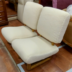Jean Roy re Jean Royere rarest pair of Visiteur du soir wool faux fur slipper chairs - 2134543