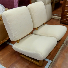 Jean Roy re Jean Royere rarest pair of Visiteur du soir wool faux fur slipper chairs - 2134544