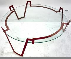 Jean Roy re Jean Royere red lacquered wrought iron model Val dor coffee table - 1586008