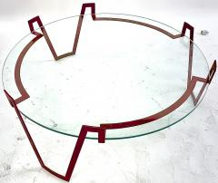 Jean Roy re Jean Royere red lacquered wrought iron model Val dor coffee table - 1586009