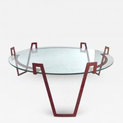 Jean Roy re Jean Royere red lacquered wrought iron model Val dor coffee table - 1586415