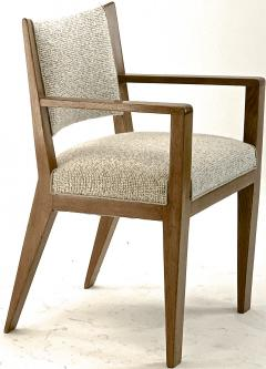 Jean Roy re Jean Royere refined oak arm chair newly covered In boucle cloth - 1538919