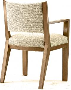 Jean Roy re Jean Royere refined oak arm chair newly covered In boucle cloth - 1538921