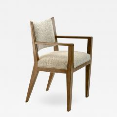 Jean Roy re Jean Royere refined oak arm chair newly covered In boucle cloth - 1541237