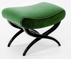 Jean Roy re Jean Royere shaped stool newly covered in green empire mohair - 878016