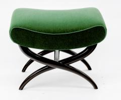 Jean Roy re Jean Royere shaped stool newly covered in green empire mohair - 878018