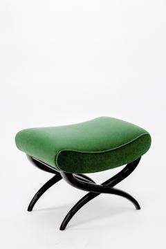 Jean Roy re Jean Royere shaped stool newly covered in green empire mohair - 878019