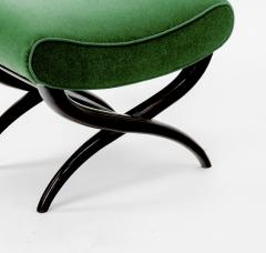 Jean Roy re Jean Royere shaped stool newly covered in green empire mohair - 878022
