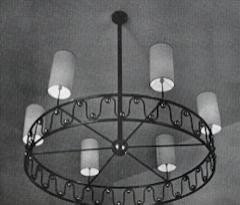 Jean Roy re Jean Royere vintage documented rarest model Ondulation big chandelier - 1031570