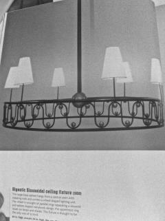 Jean Roy re Jean Royere vintage documented rarest model Ondulation big chandelier - 1031571