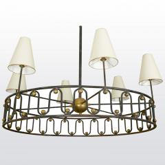 Jean Roy re Jean Royere vintage documented rarest model Ondulation big chandelier - 1031613
