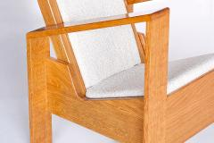 Jean Roy re Modernist Armchair in Solid Oak and Ivory Leli vre Fabric France 1940s - 842903