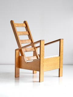 Jean Roy re Modernist Armchair in Solid Oak and Ivory Leli vre Fabric France 1940s - 842904