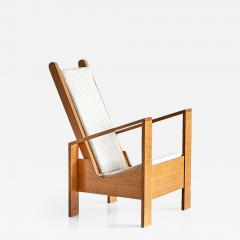 Jean Roy re Modernist Armchair in Solid Oak and Ivory Leli vre Fabric France 1940s - 844621