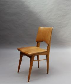 Jean Souvrain Set of 6 French 1950s Cherry and Leather Chairs by Jean Souvrain - 2004597