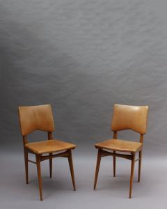 Jean Souvrain Set of 6 French 1950s Cherry and Leather Chairs by Jean Souvrain - 2004601